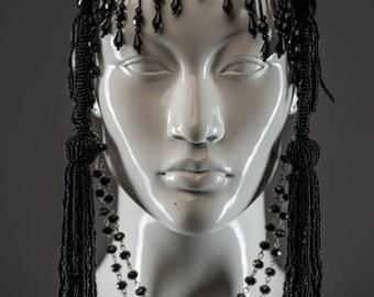 Beaded fringe black headdress with long beaded tassels / Flapper headpiece / Tribal fusion /Art deco headband / Vintage Diva face jewelry
