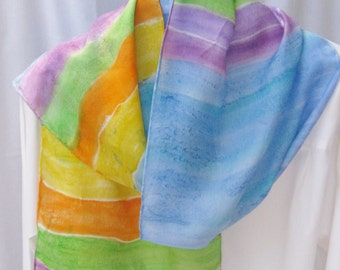 Hand painted silk scarf purple,orange green aqua 60x11 scarf Canadian design