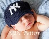 CROCHET PATTERN- Baby Baseball Cap- Crochet Pattern Baseball Hat 0 to 12 Months
