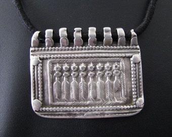 Antique Indian Amulet, Old Indian Amulet, Ethnic Tribal,  Seven Mothers (Sapta Matrikas), Rajasthan, High Grade Silver, 15 grams