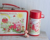 1980's Strawberry Shortcake Lunch Box and Thermos - Vintage Metal Novelty
