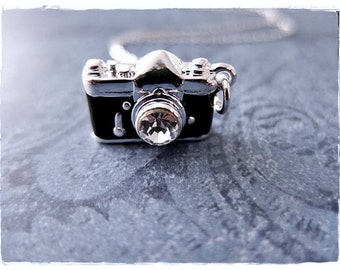 Black Camera Necklace - Black Enameled Silver Plated Camera Charm on a Delicate Sterling Silver Cable Chain or Charm Only
