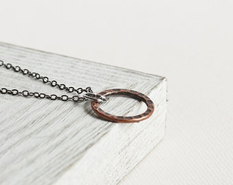Small Circle Necklace - Antiqued Copper Loop with Gunmetal Black Chain, Copper Circle Pendant, Copper Plated Pendant, Geometric Jewelry