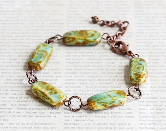 Rustic Linked Beaded Bracelet with Aqua Picasso Czech Glass and Antiqued Copper Plated Clasp, Boho Chic Jewelry