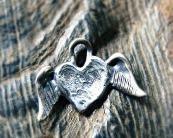 Sterling Silver Artisan Angel Heart Charm - Angel Charm - Artisan Angel Charm