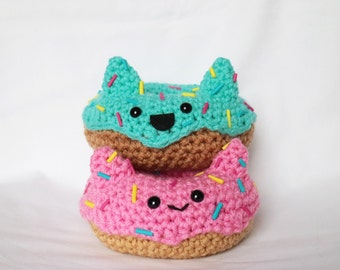 Crochet Amigurumi Animal Donut Doughnut with Ears Kawaii Food Plush Cute