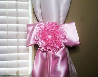 Handmade Long Nursery Crib Satin Bows Flowers and Bling Custom Made Curtain Ties