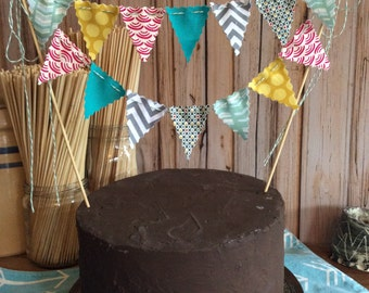 Cake Bunting topper fabric flags Modern for him Mens birthday cake decoration