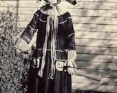 Unusual FLAMBOYANT HALLOWEEN COSTUME On Young Girl w Pumpkin Jack-O-Lantern Pockets Circa 1930s