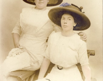 EDWARDIAN Women in White Cotton Dresses and Beautiful Large FEATHER HATS Photo Postcard Circa 1910