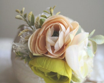 Rustic Floral Tieback - Cream, Ivory & Lime - Rustic Accents - Photography Prop