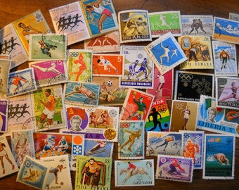 50 Used Vintage SPORTS Olympics Postage Stamps for crafting collage altered art journals scrapbooks philately commemorative stamps 15c