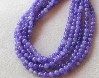 Purple Jade, Gemstone Beads, Jewelry Making, Design, Full Strand, 6mm (1)
