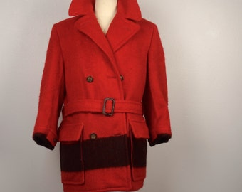 Red Wool Hudson's Bay 5 Point Blanket coat Canada double breast pea coat 50s vintage belted jacket Canadian made in England men 46 XL