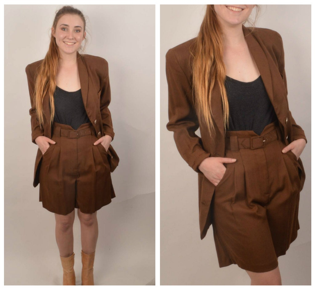 Brown Two-Piece Dressy Shorts and Jacket Womens 80s to 90s