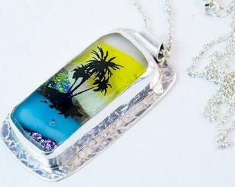 Scenic Pendant Sunset Beach Dichroic Glass in Sterling Silver Handcrafted