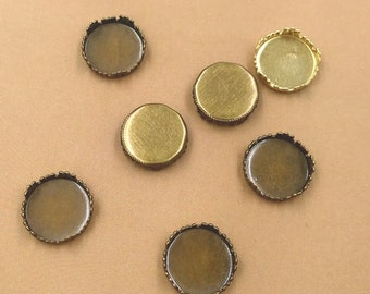 100 Brass Antique Bronzed Crown Edged 12mm Round Bezel Setting Cabochon Mountings Wholesale Jewelry Findings- Z8560