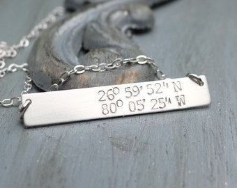 Sterling Silver Custom Latitude Longitude Bar Necklace. Hand Stamped Jewelry. Minimalist, Engraved Necklace. Layering Bar Necklace, Nautical