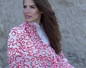 Nuno felted white red silk scarf, handmade silk wool nunofelt scarf, felted shawl, felted eco, wool scarf, gift, made in Europe white scarf