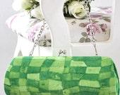 Tonal Mosaic in Green -- AMY Clutch - Ready to ship