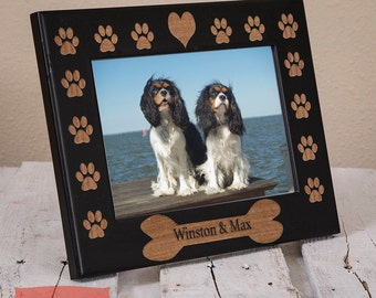 Dog Name Picture Frame Engraved on Wood - Personalized Doggy Bone Picture Frame With Dogs Name - Pawprints - Heart -Color of Your Choice