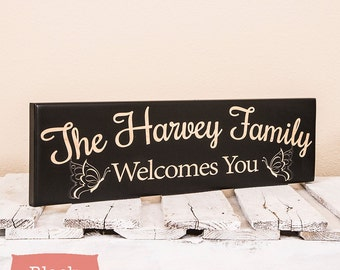 Personalized Welcome Sign-Housewarming Gift-Personalized Door Hanging-Personalized Family Welcome Sign-Family Name Sign, Door Hanging