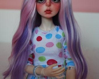 MADE TO ORDER 6-7 7-8 alpaca long pastel pink/purple blend bjd wig minifee size