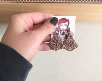 Metallic Bronze Crochet Earrings , Diamond Shape Cotton Earrings, Cream Bohemian Jewelry, Boho Earrings, hand-crocheted gift for women