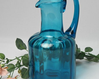 50% Off  Glass Pitcher Hand Blown Deep Teal / Shelf Sitter / Flower Vase