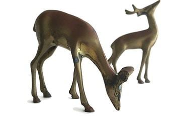 Vintage Brass Deer Pair of Brass Deer Home Decor Brass Accessories Unique Warm Rustic Patina Brass Decor Accessories