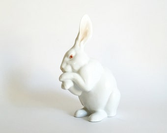 White Porcelain Rabbit Figurine Herend Bunny with Paws Up Easter Bunny