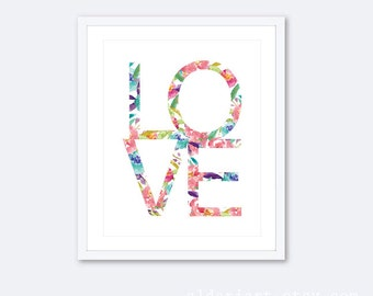 Love Art Print - Love Wall Art - Floral Love Print -  Nursery Wall Art - Nursery Decor - Bedroom Wall Art - Aldari Art Studio