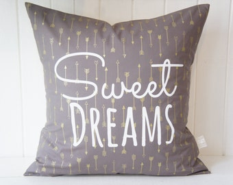 Sweet Dreams Pillow Cover, 20x20, Gold arrows