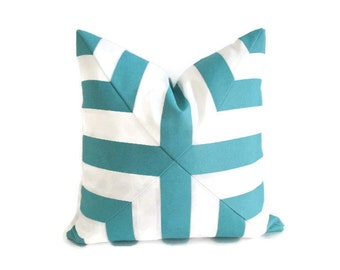 Pillow Cover Mitered Cross Turquoise Blue White Stripes Indoor Outdoor
