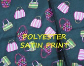 1 YARD, Black Bright Purses, Satin Print, Fashion or Lining Fabric, Pink Green, Lightweight Polyester, B36