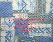 1-1/2 YARDS, Blue White Basketweave, Geometric Print, Knit Back Fashion or Home Decor Fabric, Medium Weight, Cotton Polyester, B27