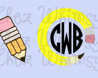Pencil SVG, Pencil Monogram SVG, Circular Pencil Design, Pencil Monogram Frame, Circular Pencil Monogram Svg