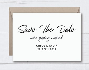 SAVE THE DATE Wedding / Engagement Invitations | Typography Handwritten Calligraphy Monochrome Minimalist Simple