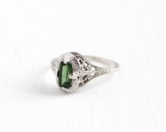 Vintage 14k White Gold Art Deco Green Tourmaline Ostby & Barton Ring - Antique Filigree 1920s Green Gemstone Fine OB Titantic Jewelry