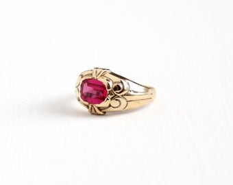 Sale - Antique 10k Yellow Gold Men's Created Ruby Ring - Size 11 1/2 Vintage Art Deco 1920s Pink Stone Chased OB Ostby Barton Fine Jewelry