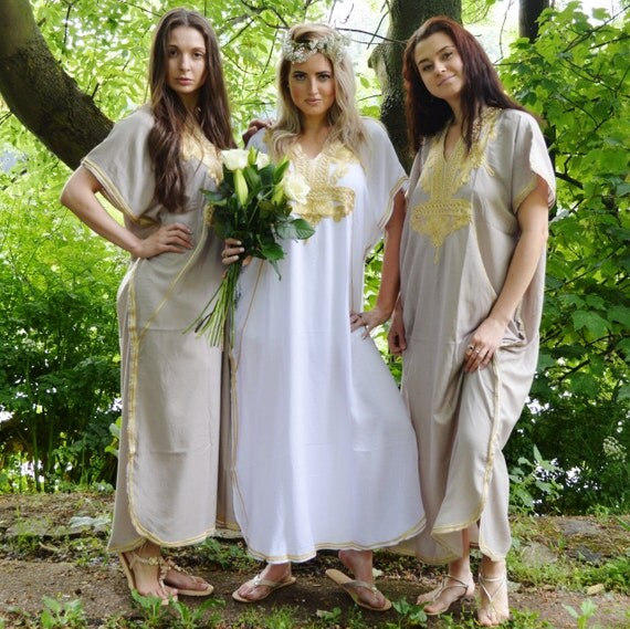 Set of 9 Bridesmaid robes,Bridesmaid gifts, Beige Gold Marrakech One Size Moroccan Kaftan-Beach wedding, bridal shower party, baby shower
