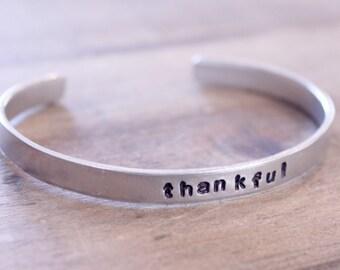 Thankful Cuff Bracelet: Hand Stamped Aluminum Silver Adjustable