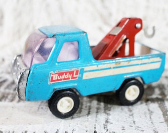 Buddy L Tow Truck, Blue metal truck, vintage toy
