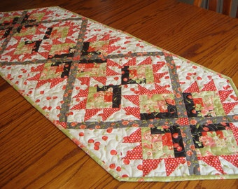 Handmade Quilted Table Runner with Cherry Fabric