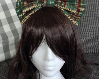 Green and Gold Tartan Lolita Bow