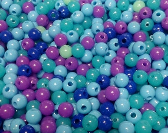 300x 6mm Tiny Sea Blue Coloured Resin Globe beads .. Super Bright