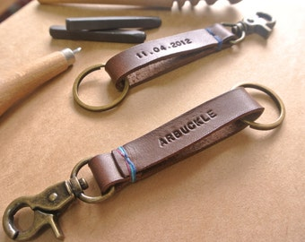 Personalized Leather Keychain Keyclip Fob, 3 color thread