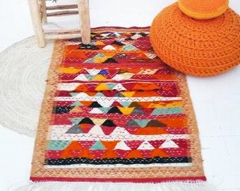 Small Moroccan Berber Zanafi Carpet - Origin Tazenakht Morocco - Handwoven Wool Rug