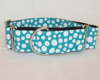 White Pebble Martingale Dog Collar - 1.5 or 2 Inch - teal turquoise polka dot fun