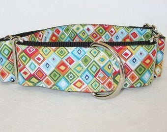 Colored Diamond Martingale Dog Collar - 1.5 or 2 Inch - white green blue red colorful geometric shapes squares mod modern handsome